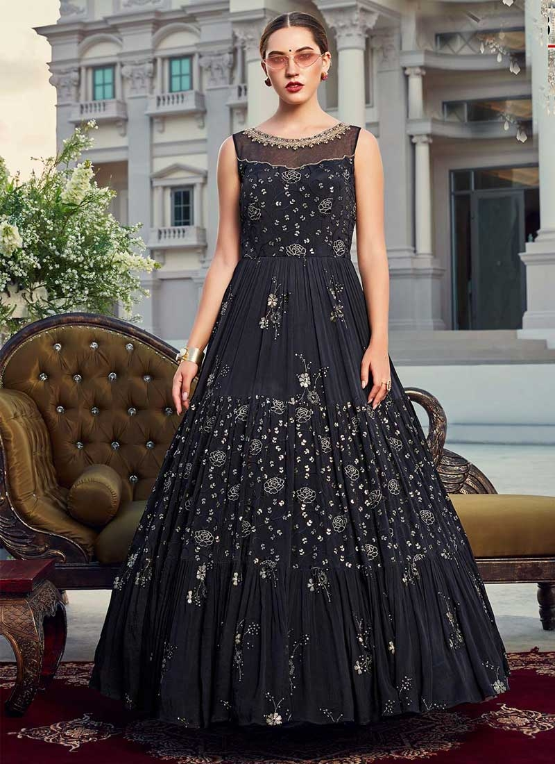 Chinon Embroidered Work Readymade Long Length Gown