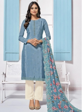 Chinon Light Blue and Off White Embroidered Work Pant Style Salwar Kameez