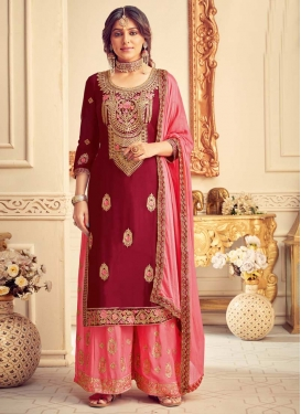 Chinon Palazzo Style Pakistani Salwar Kameez For Ceremonial