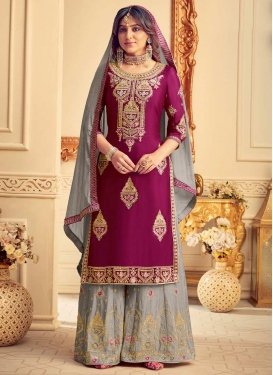 Chinon Palazzo Style Pakistani Salwar Suit For Ceremonial