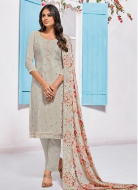 Chinon Pant Style Straight Salwar Kameez For Festival