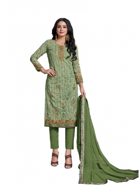 Pant Style Straight Suit Abstract Print Cotton in Olive