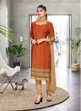 Churidar Suit Print Crepe Silk in Orange