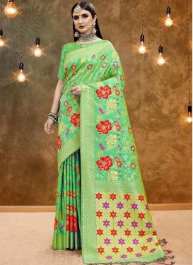 Classic Designer Saree Printed Art Silk in Sea Green