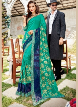 Classic Saree Border Georgette in Sea Green