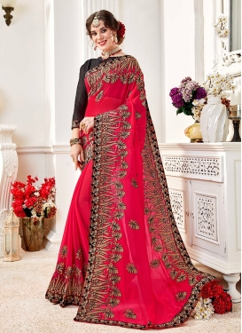 Classic Saree Embroidered Faux Georgette in Rose Pink