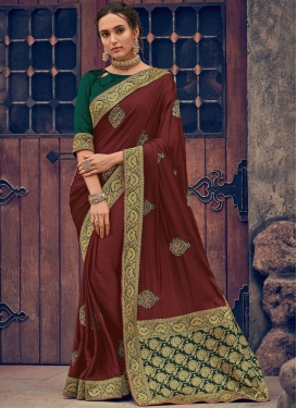 Classic Saree Embroidered Poly Silk