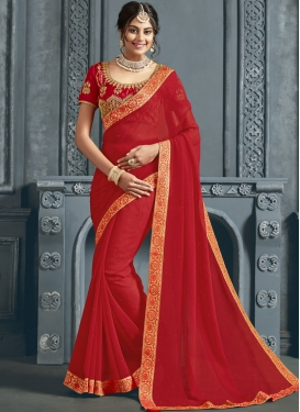 Classic Saree Patch Border Faux Chiffon in Red