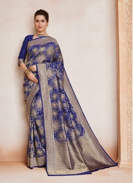 Classic Saree Weaving Art Silk in Navy Blue