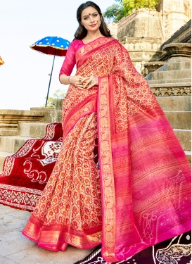 Classical Cotton Silk Cream and Pink Printed Traditional Saree