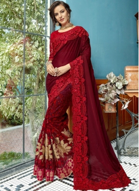 Classical Embroidered Maroon Designer Traditional Saree