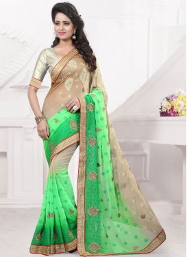 Classical Mint Green Color Booti Work Designer Saree