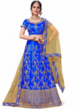 Classical Thread Work Satin Silk Trendy Lehenga Choli