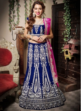 Classical Velvet Patchwork Navy Blue Trendy Lehenga Choli