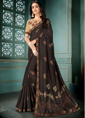 Classy Coffee Brown Patch Border Traditional Saree