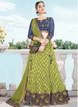 Classy Cut Work Navy Blue and Olive A Line Lehenga Choli
