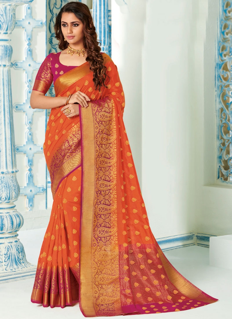 Classy Orange Designer Traditional Saree