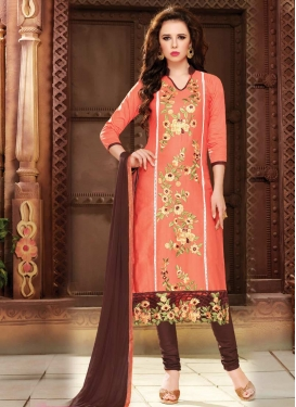 Coffee Brown and Coral Cotton Churidar Salwar Suit