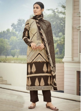 Coffee Brown and Cream Crepe Silk Pant Style Pakistani Salwar Kameez