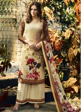 Coffee Brown and Cream Palazzo Style Pakistani Salwar Kameez For Ceremonial