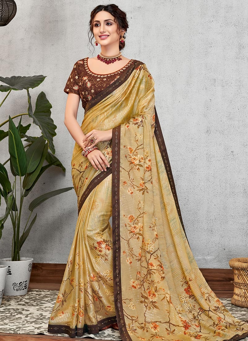 Coffee Brown and Gold Digital Print Work Designer Contemporary Style Saree