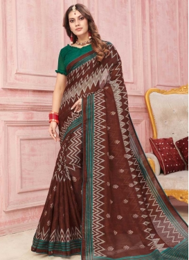 Coffee Brown and Green Digital Print Work Designer Contemporary Style Saree