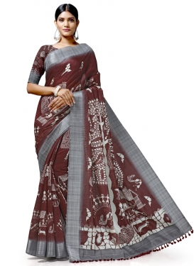 Coffee Brown and Grey Trendy Classic Saree