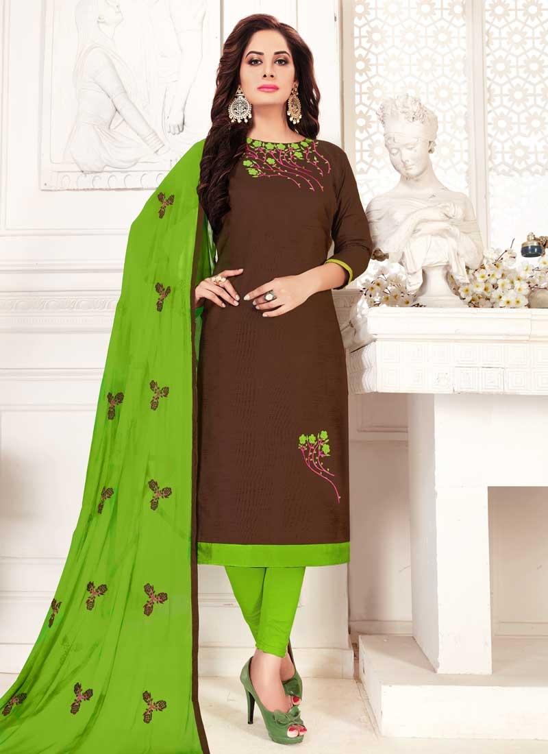 Coffee Brown and Mint Green Churidar Salwar Kameez