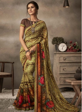 Coffee Brown and Mint Green Digital Print Work Faux Georgette Trendy Classic Saree