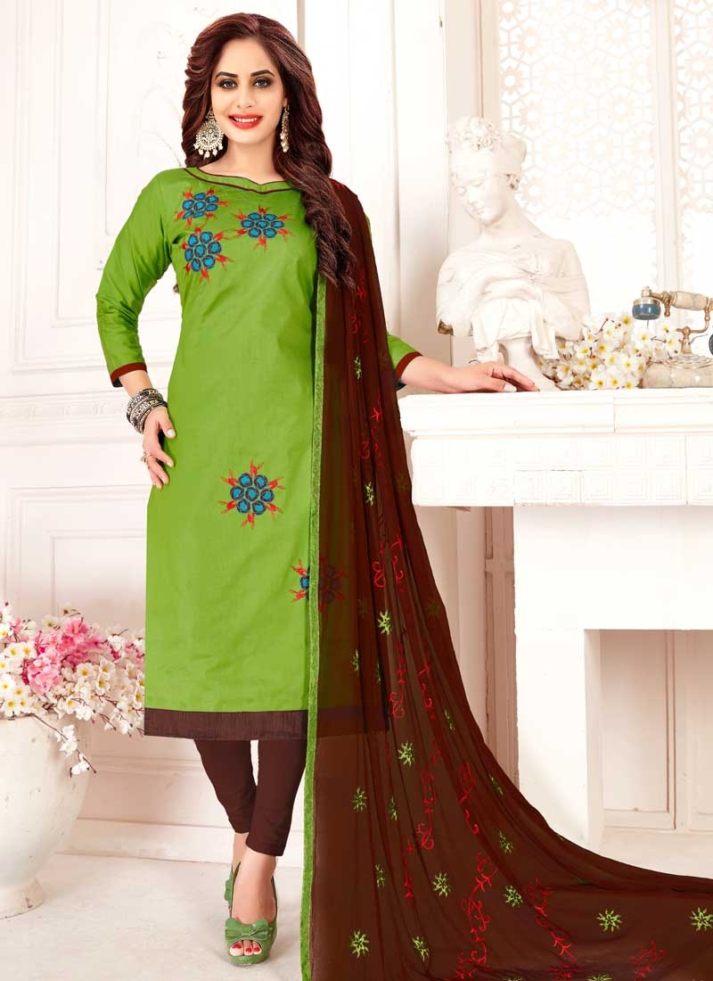 Coffee Brown and Mint Green Trendy Churidar Salwar Kameez