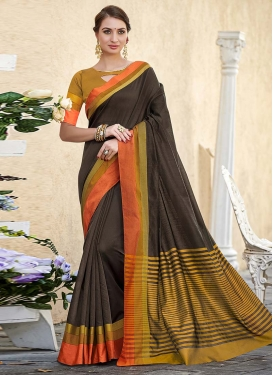 Coffee Brown and Mustard Designer Contemporary Saree For Casual