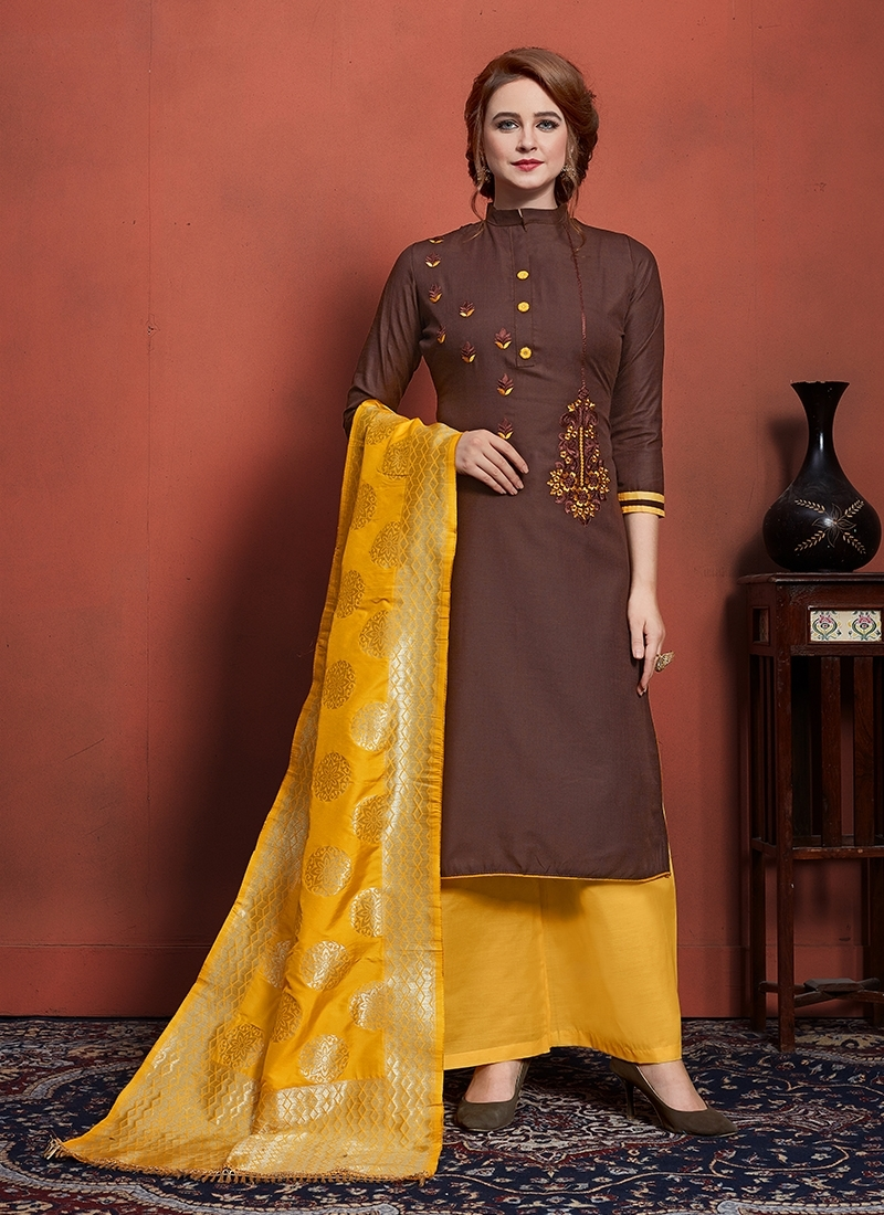 Coffee Brown and Mustard Designer Palazzo Suit For Ceremonial