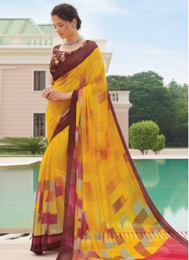 Coffee Brown and Mustard Digital Print Work Faux Georgette Designer Contemporary Style Saree