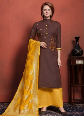 Coffee Brown and Mustard Palazzo Straight Salwar Suit