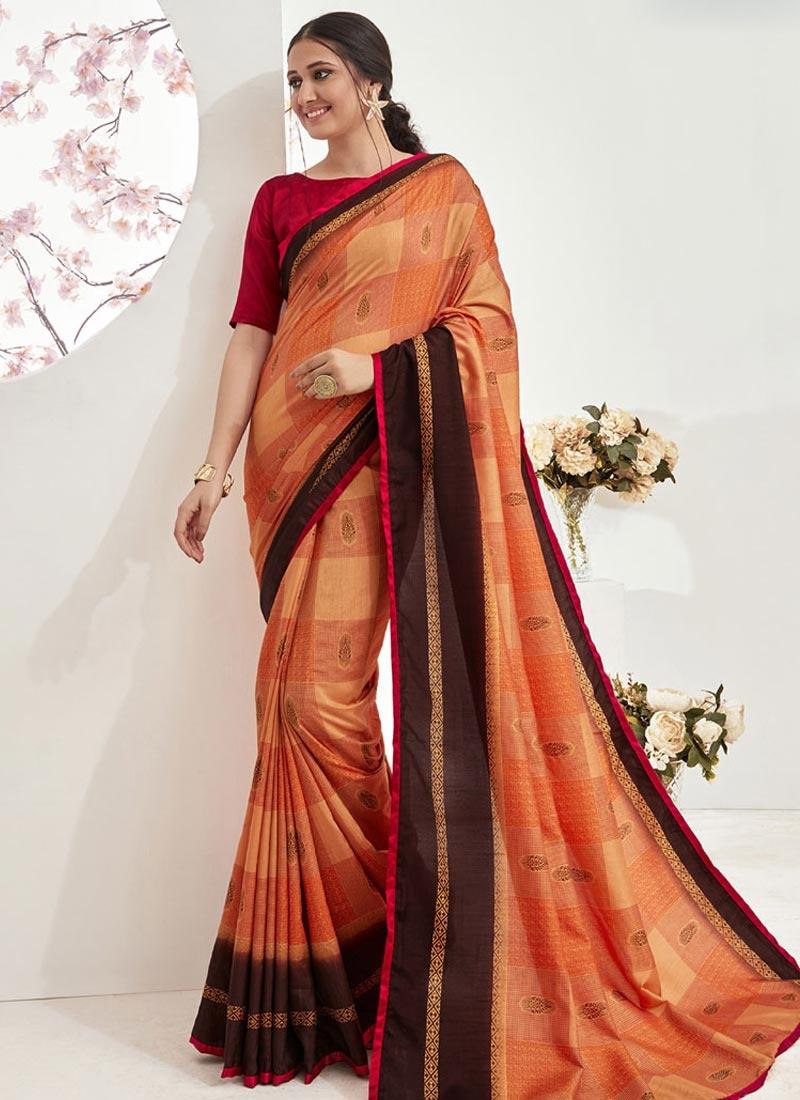 Coffee Brown and Orange Art Silk Trendy Classic Saree