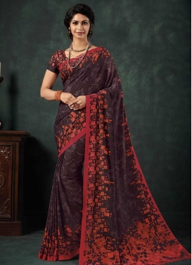 Coffee Brown and Orange Contemporary Style Saree For Casual