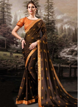 Coffee Brown and Orange Contemporary Style Saree For Ceremonial