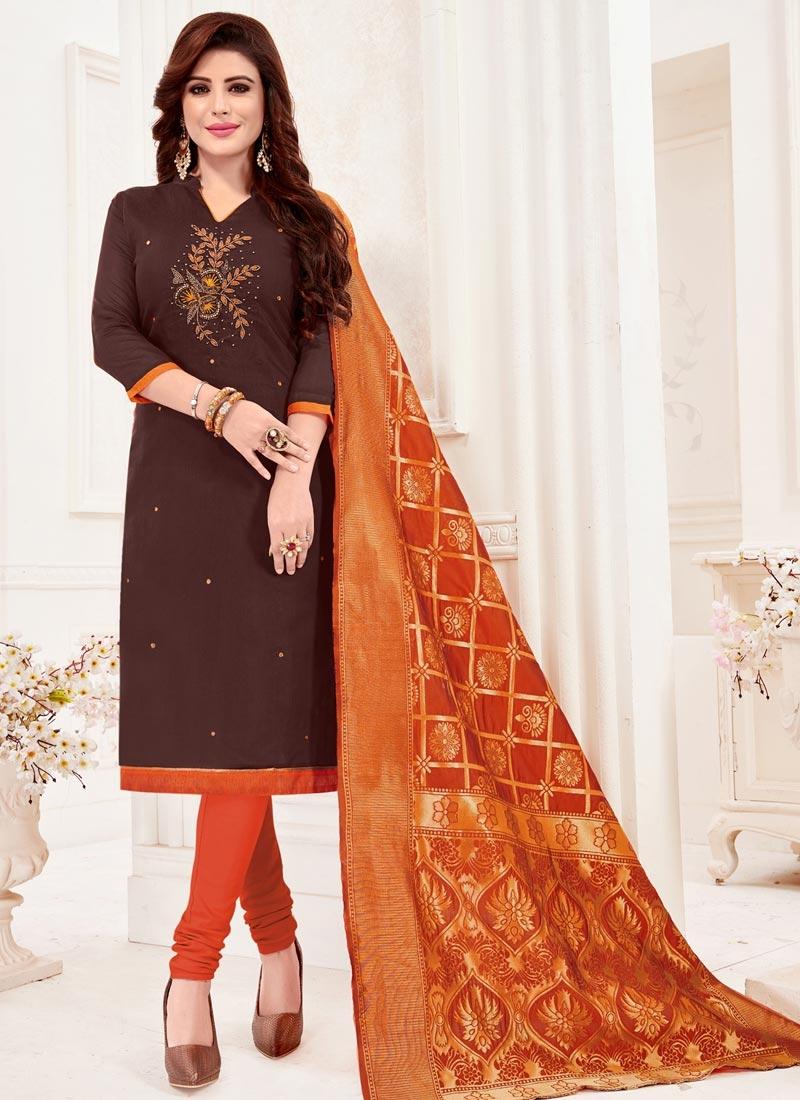 Coffee Brown and Orange Cotton Trendy Churidar Suit