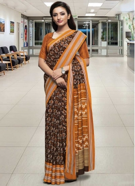 Coffee Brown and Orange Designer Traditional Saree