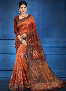 Coffee Brown and Orange Digital Print Work Contemporary Style Saree