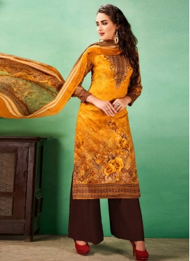 Coffee Brown and Orange Digital Print Work Palazzo Straight Salwar Kameez
