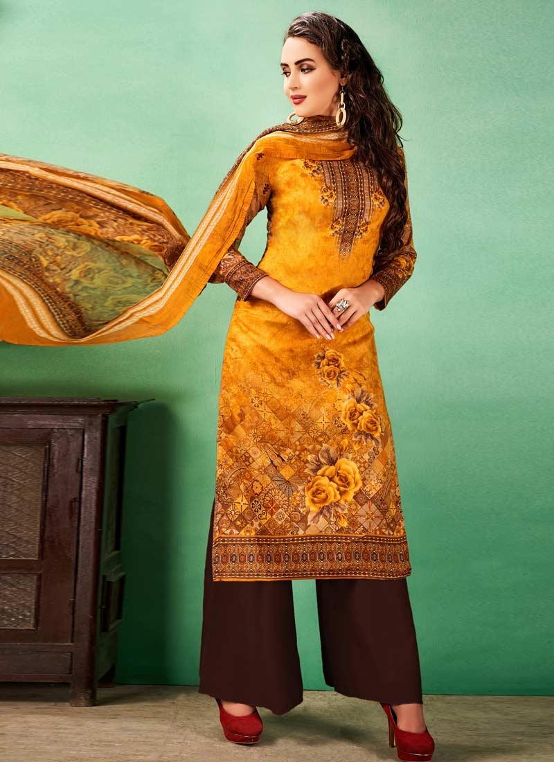 Coffee Brown and Orange Digital Print Work Palazzo Straight Salwar Kameez