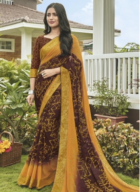 Coffee Brown and Orange Faux Georgette Traditional Saree