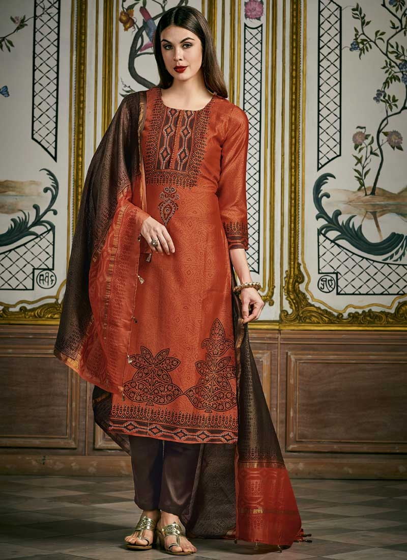 Coffee Brown and Orange Readymade Salwar Suit