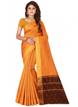 Coffee Brown and Orange Thread Work Trendy Saree