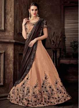 Coffee Brown and Peach Beads Work Designer Lehenga Style Saree