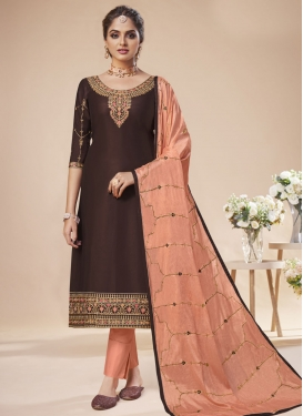 Coffee Brown and Peach Pant Style Pakistani Salwar Suit