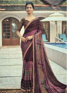 Coffee Brown and Pink Faux Chiffon Trendy Classic Saree