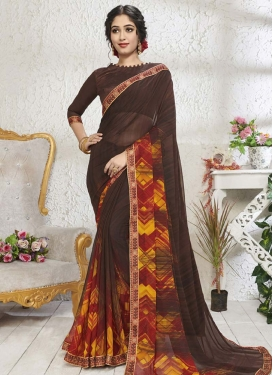 Coffee Brown and Red Digital Print Work Contemporary Style Saree