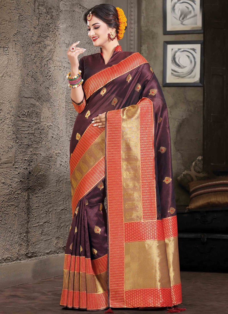 Coffee Brown and Red Woven Work Trendy Classic Saree